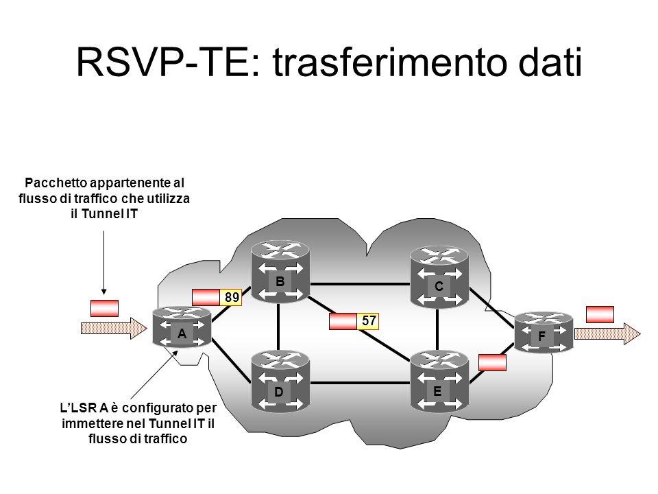 LSR di ingresso LSR di uscita A BE F RESV 89 Etichetta = 89RESV 57 Etichetta = 57RESV 3 Etichetta = 3 InOut Traffico (IF 1; 89) InOutInOut IF1 FTNILM IF 0IF1IF 0IF1IF 0 (IF 0; 89) (IF 1; 57) (IF 0; 57) (IF 1; Pop) RSVP-TE Tunnel IT set up