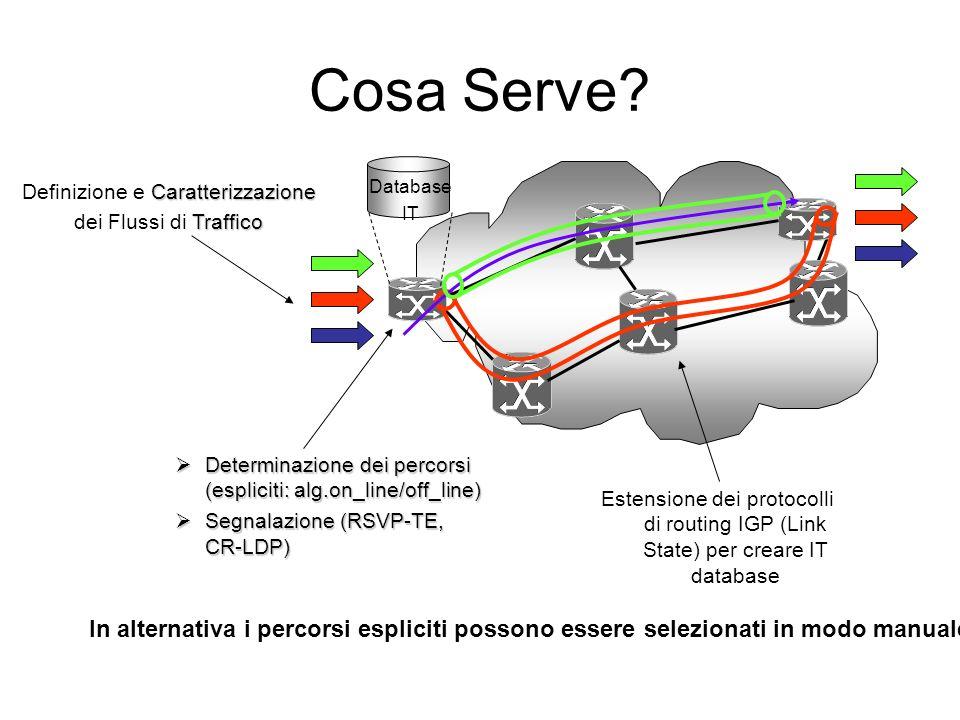 Caratterizzazione Definizione e Caratterizzazione Traffico dei Flussi di Traffico Estensione dei protocolli di routing IGP (Link State) per creare IT database Database IT Determinazione dei percorsi (espliciti: alg.on_line/off_line) Determinazione dei percorsi (espliciti: alg.on_line/off_line) Segnalazione (RSVP-TE, CR-LDP) Segnalazione (RSVP-TE, CR-LDP) Cosa Serve.