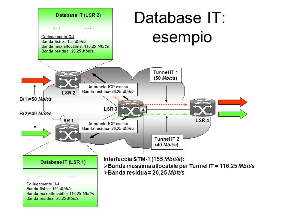 Database IT: esempio Tunnel IT 1 (50 Mbit/s) LSR 1 LSR 2 LSR 3 LSR 4 Interfaccia STM-1 (155 Mbit/s): Banda massima allocabile per Tunnel IT = 116,25 Mbit/s Banda residua = 26,25 Mbit/s B(1)=50 Mbit/s B(2)=40 Mbit/s Tunnel IT 2 (40 Mbit/s)...