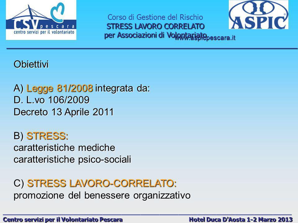 www.aspicpescara.it _______________________________________________________________________________ Corso di Gestione del Rischio STRESS LAVORO CORRELATO per Associazioni di Volontariato ______________________________________________ Centro servizi per il Volontariato Pescara Hotel Duca DAosta 1-2 Marzo 2013