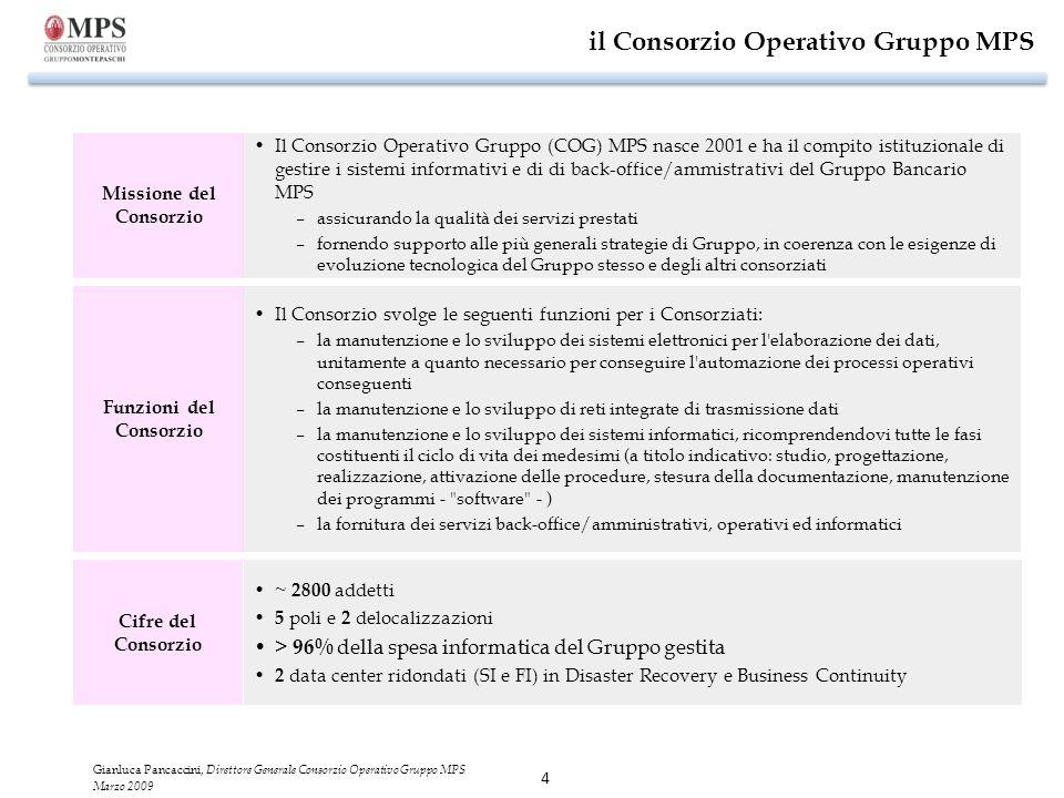 4 il Consorzio Operativo Gruppo MPS Il Consorzio Operativo Gruppo (COG) MPS nasce 2001 e ha il compito istituzionale di gestire i sistemi informativi