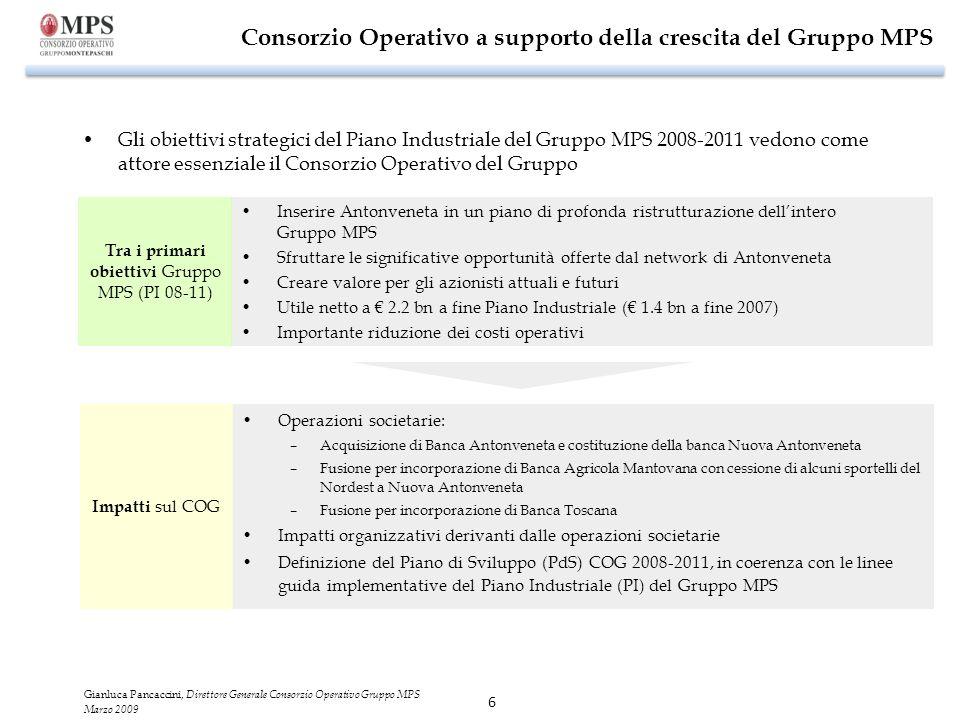 6 Consorzio Operativo a supporto della crescita del Gruppo MPS Gli obiettivi strategici del Piano Industriale del Gruppo MPS 2008-2011 vedono come att