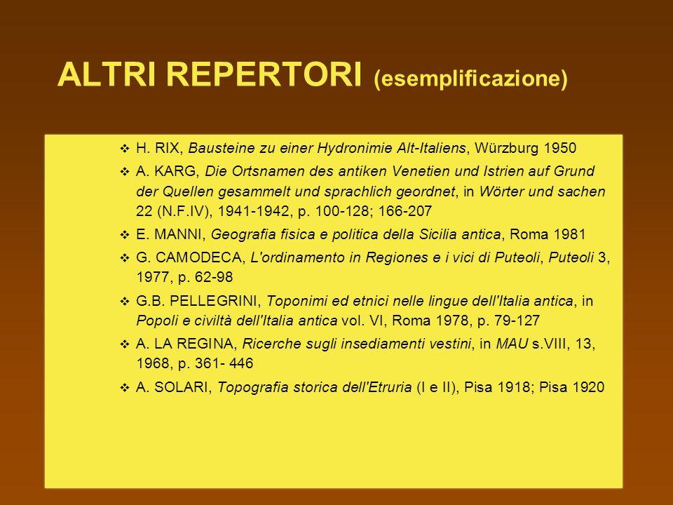 ALTRI REPERTORI (esemplificazione) H.