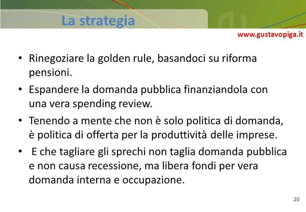 20 Rinegoziare la golden rule, basandoci su riforma pensioni. Espandere la domanda pubblica finanziandola con una vera spending review. Tenendo a ment