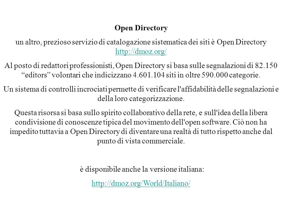 Open Directory un altro, prezioso servizio di catalogazione sistematica dei siti è Open Directory http://dmoz.org/ http://dmoz.org/ Al posto di redatt