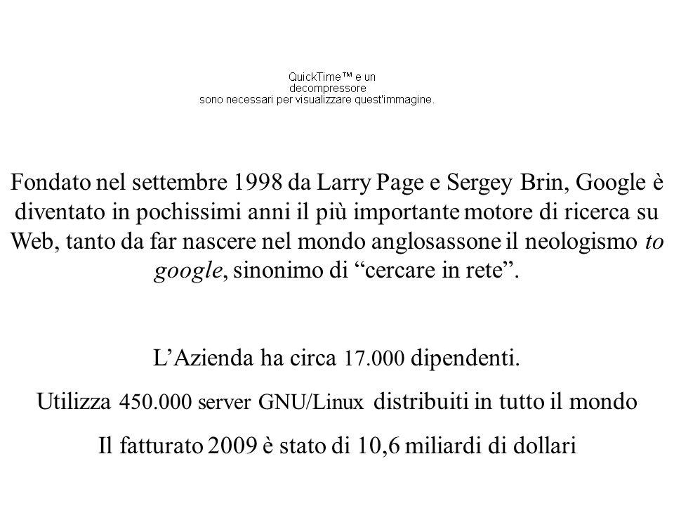 Fondato nel settembre 1998 da Larry Page e Sergey Brin, Google è diventato in pochissimi anni il più importante motore di ricerca su Web, tanto da far