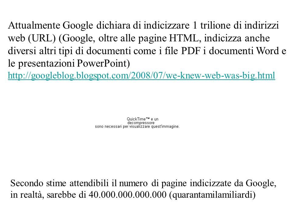 Attualmente Google dichiara di indicizzare 1 trilione di indirizzi web (URL) (Google, oltre alle pagine HTML, indicizza anche diversi altri tipi di do