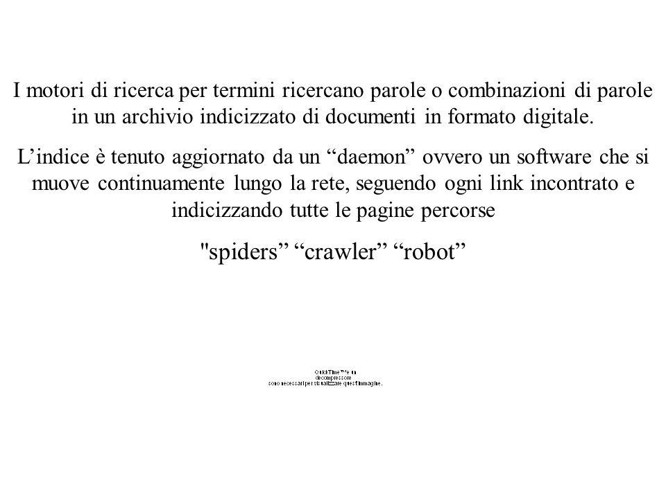I motori di ricerca per termini Gli spider non prendono in considerazione la grafica delle pagine ma focalizzano il loro lavoro di analisi esclusivamente sul testo.