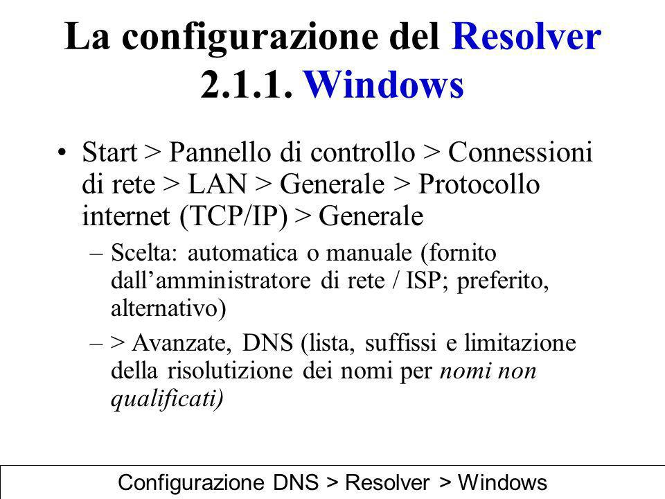 La configurazione del Resolver 2.1.1. Windows Start > Pannello di controllo > Connessioni di rete > LAN > Generale > Protocollo internet (TCP/IP) > Ge