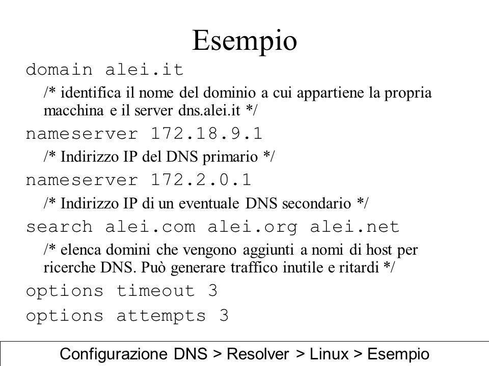 Esempio domain alei.it /* identifica il nome del dominio a cui appartiene la propria macchina e il server dns.alei.it */ nameserver 172.18.9.1 /* Indi