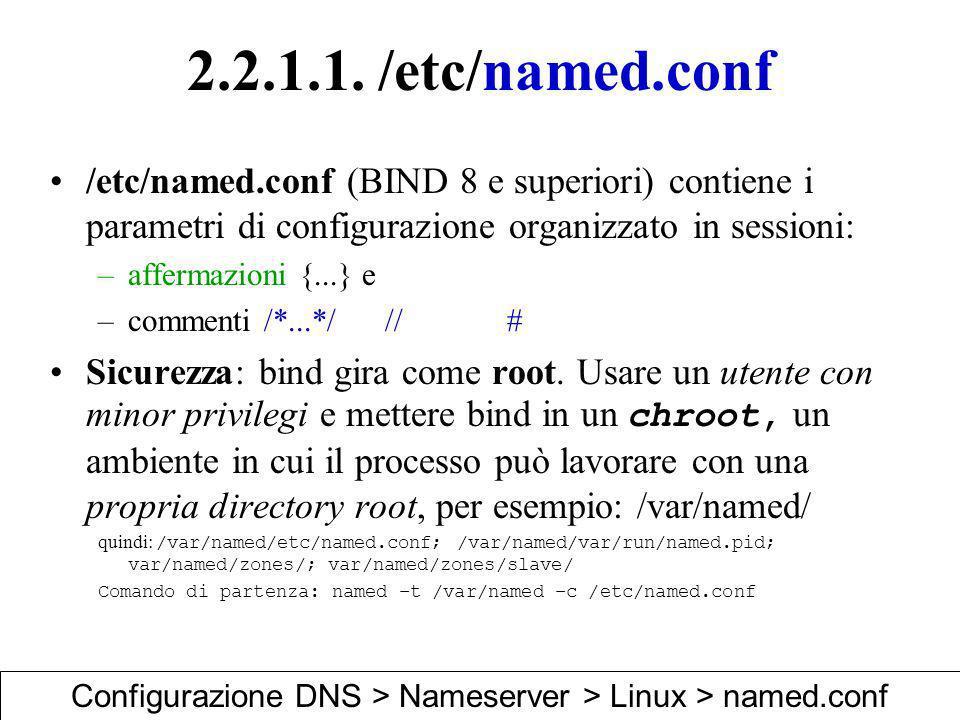2.2.1.1. /etc/named.conf /etc/named.conf (BIND 8 e superiori) contiene i parametri di configurazione organizzato in sessioni: –affermazioni {...} e –c