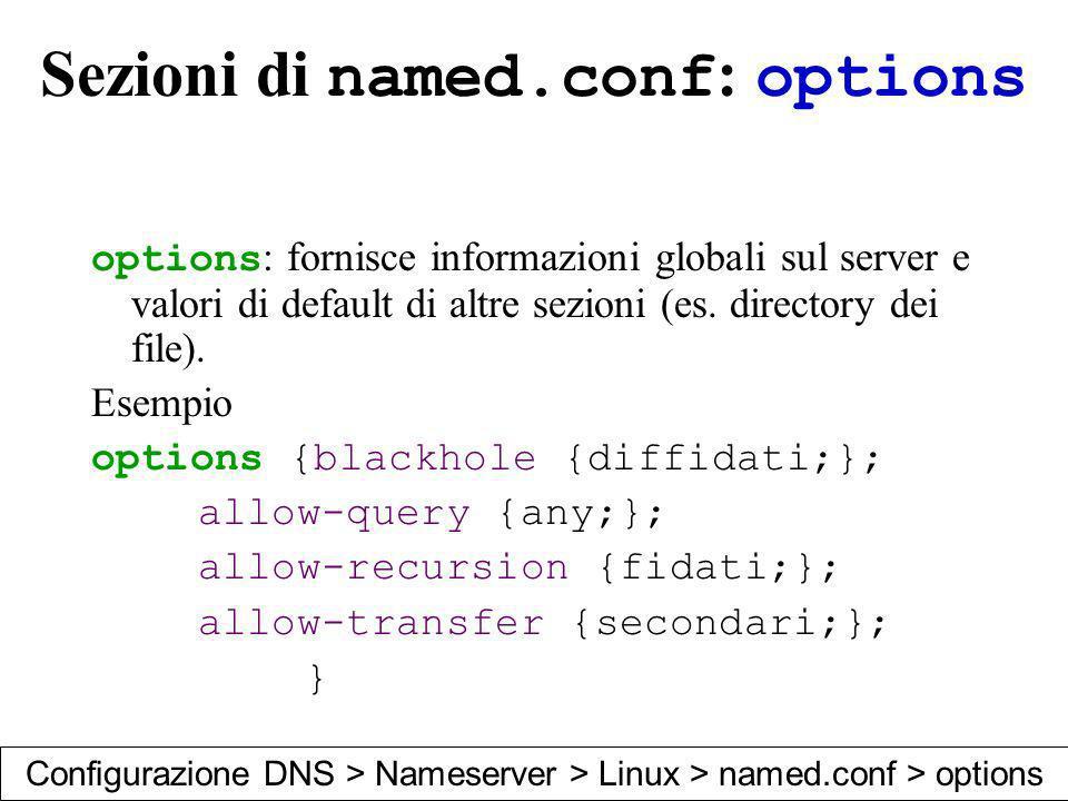 Sezioni di named.conf : options options : fornisce informazioni globali sul server e valori di default di altre sezioni (es. directory dei file). Esem