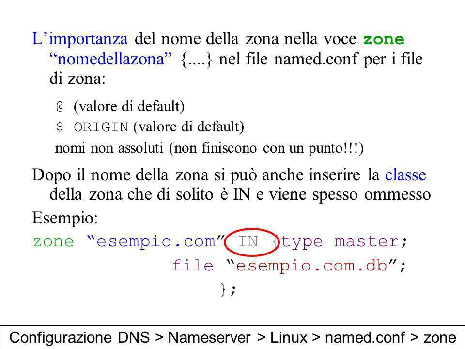Limportanza del nome della zona nella voce zone nomedellazona {....} nel file named.conf per i file di zona: @ (valore di default) $ ORIGIN (valore di