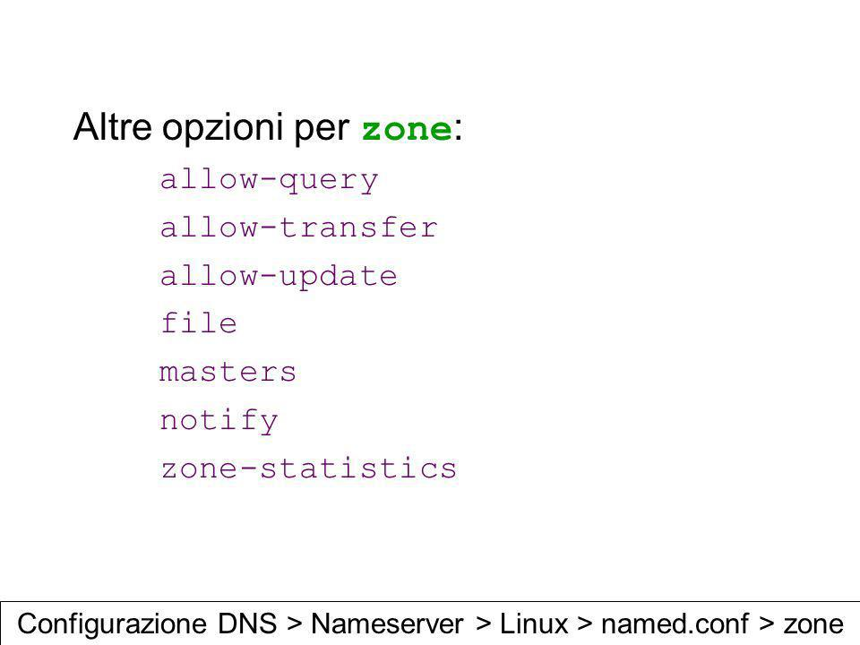 Altre opzioni per zone : allow-query allow-transfer allow-update file masters notify zone-statistics Configurazione DNS > Nameserver > Linux > named.c