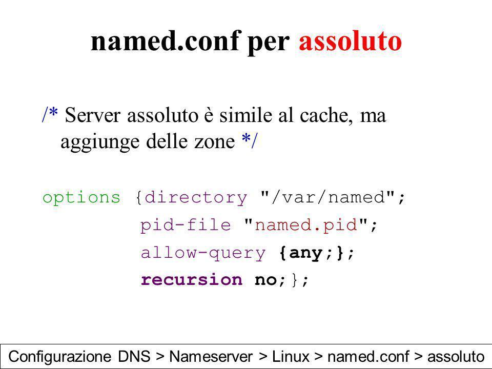 named.conf per assoluto /* Server assoluto è simile al cache, ma aggiunge delle zone */ options {directory