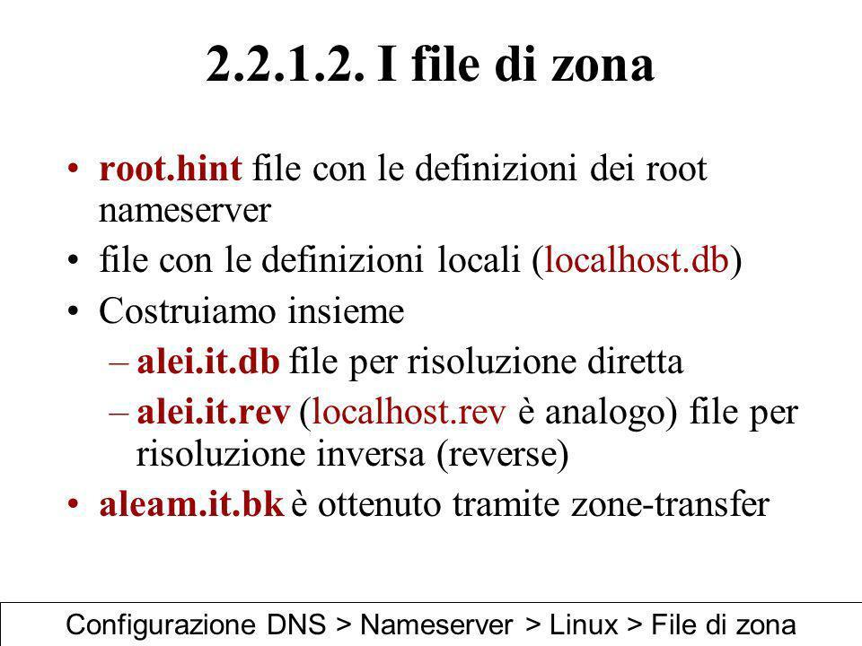 2.2.1.2. I file di zona root.hint file con le definizioni dei root nameserver file con le definizioni locali (localhost.db) Costruiamo insieme –alei.i