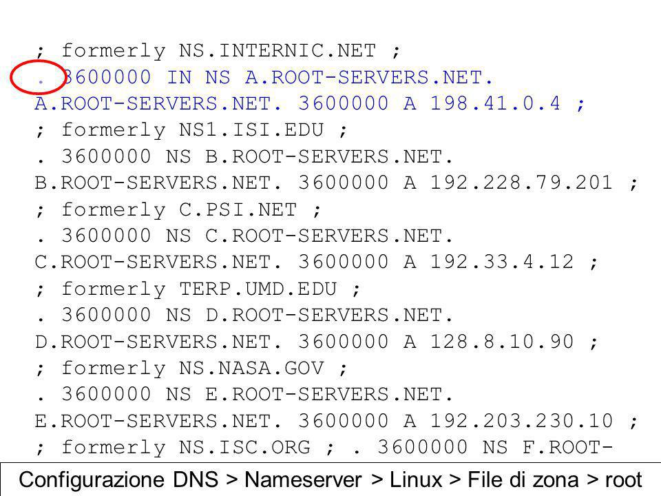 ; formerly NS.INTERNIC.NET ;. 3600000 IN NS A.ROOT-SERVERS.NET. A.ROOT-SERVERS.NET. 3600000 A 198.41.0.4 ; ; formerly NS1.ISI.EDU ;. 3600000 NS B.ROOT