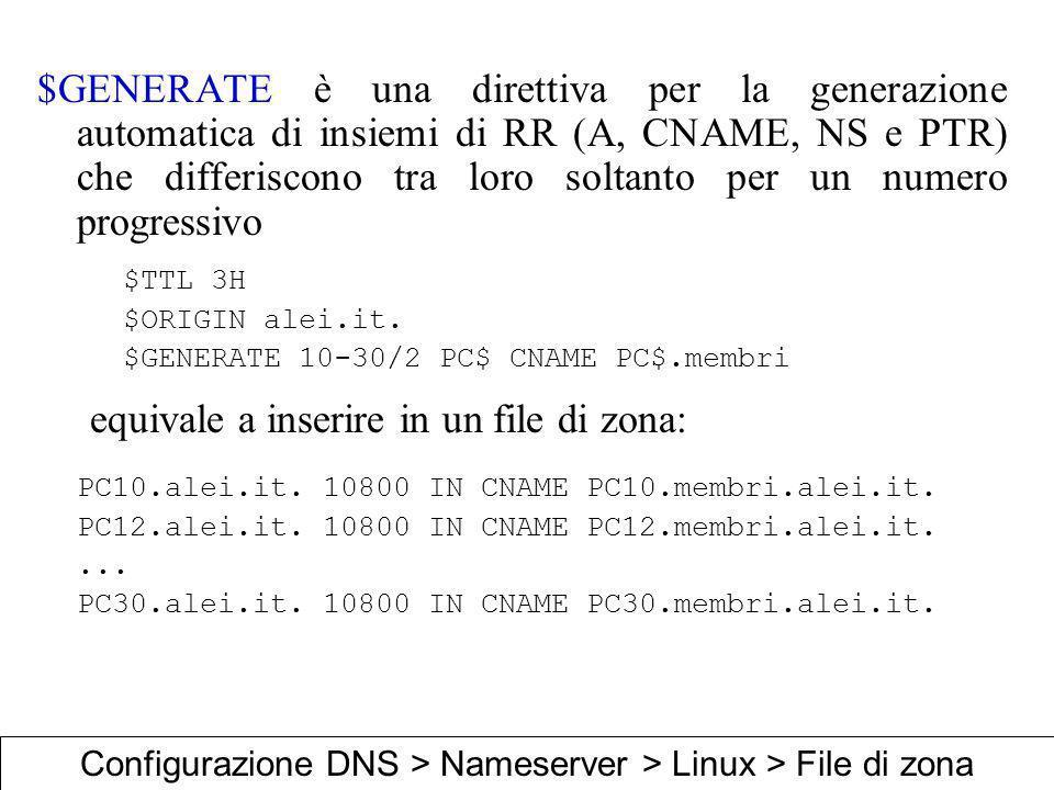 $GENERATE è una direttiva per la generazione automatica di insiemi di RR (A, CNAME, NS e PTR) che differiscono tra loro soltanto per un numero progres