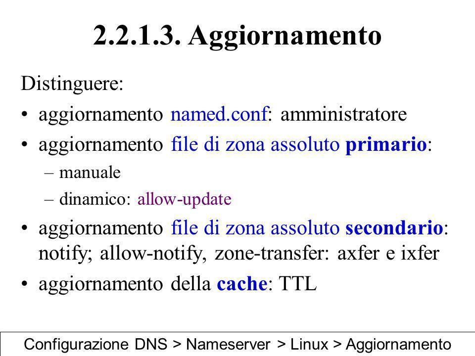 2.2.1.3. Aggiornamento Distinguere: aggiornamento named.conf: amministratore aggiornamento file di zona assoluto primario: –manuale –dinamico: allow-u