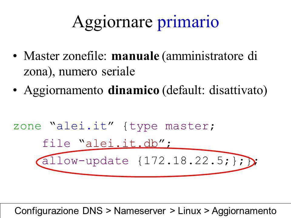 Aggiornare primario Master zonefile: manuale (amministratore di zona), numero seriale Aggiornamento dinamico (default: disattivato) zone alei.it {type
