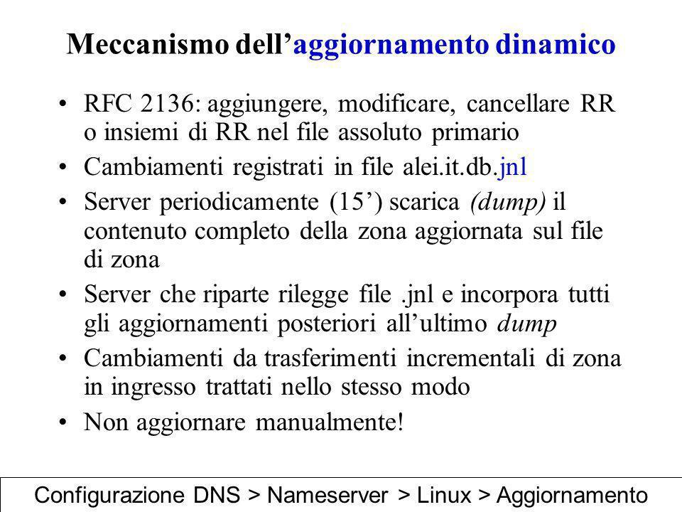Meccanismo dellaggiornamento dinamico RFC 2136: aggiungere, modificare, cancellare RR o insiemi di RR nel file assoluto primario Cambiamenti registrat