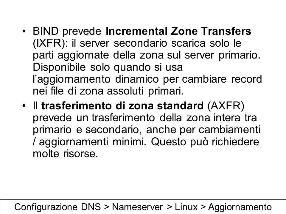 BIND prevede Incremental Zone Transfers (IXFR): il server secondario scarica solo le parti aggiornate della zona sul server primario. Disponibile solo