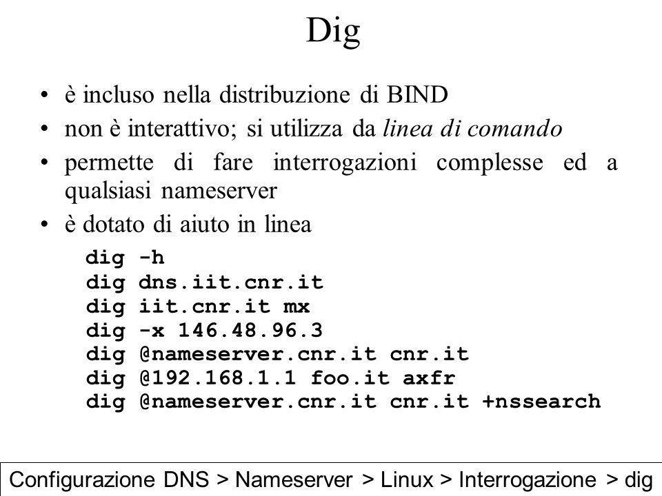Dig è incluso nella distribuzione di BIND non è interattivo; si utilizza da linea di comando permette di fare interrogazioni complesse ed a qualsiasi