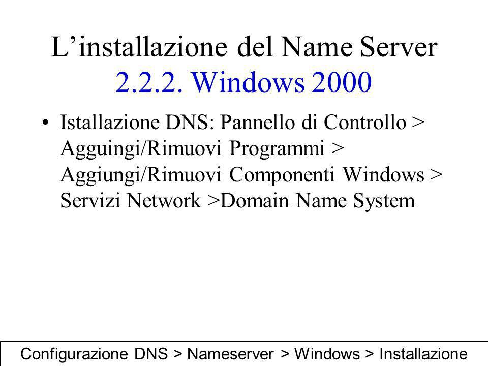 Linstallazione del Name Server 2.2.2. Windows 2000 Istallazione DNS: Pannello di Controllo > Agguingi/Rimuovi Programmi > Aggiungi/Rimuovi Componenti