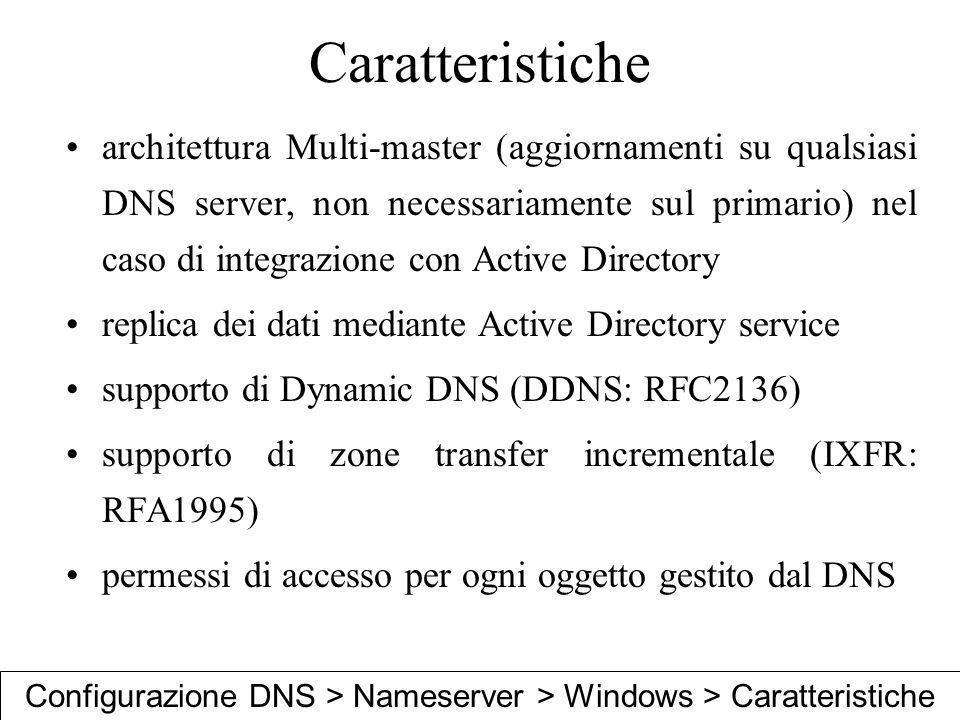 Caratteristiche architettura Multi-master (aggiornamenti su qualsiasi DNS server, non necessariamente sul primario) nel caso di integrazione con Activ