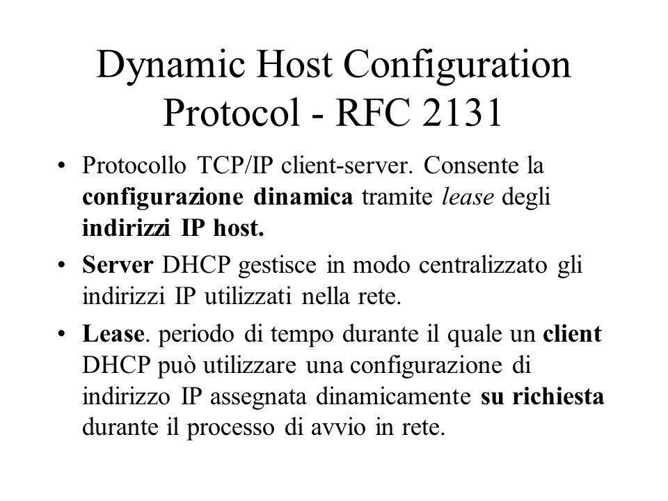 Dynamic Host Configuration Protocol - RFC 2131 Protocollo TCP/IP client-server. Consente la configurazione dinamica tramite lease degli indirizzi IP h