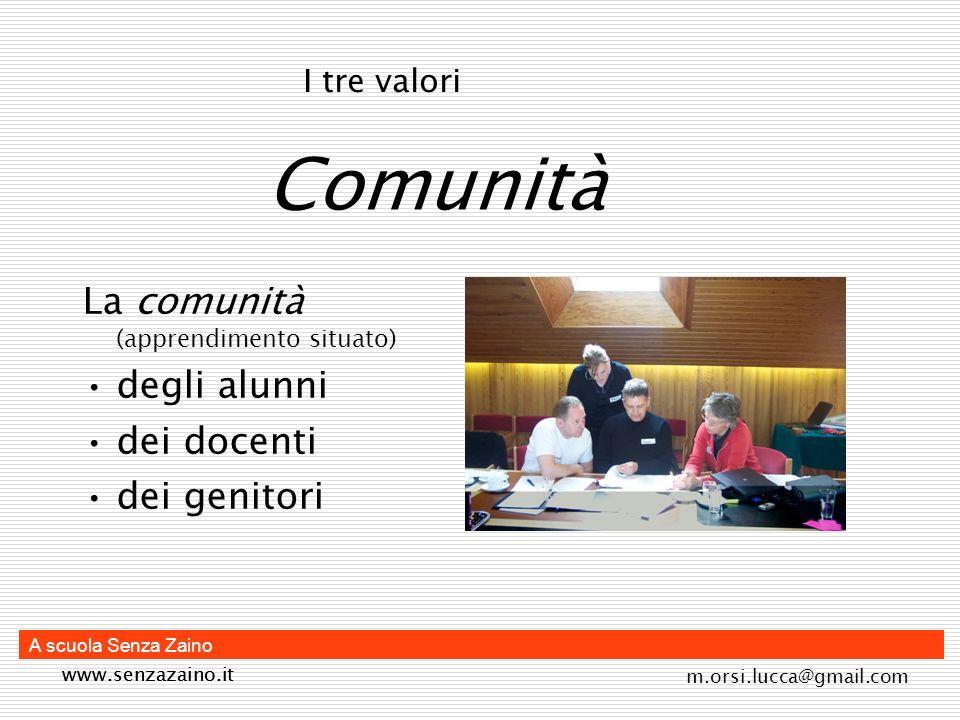 m.orsi.lucca@gmail.com A scuola Senza Zaino Comunità La comunità (apprendimento situato) degli alunni dei docenti dei genitori I tre valori www.senzaz