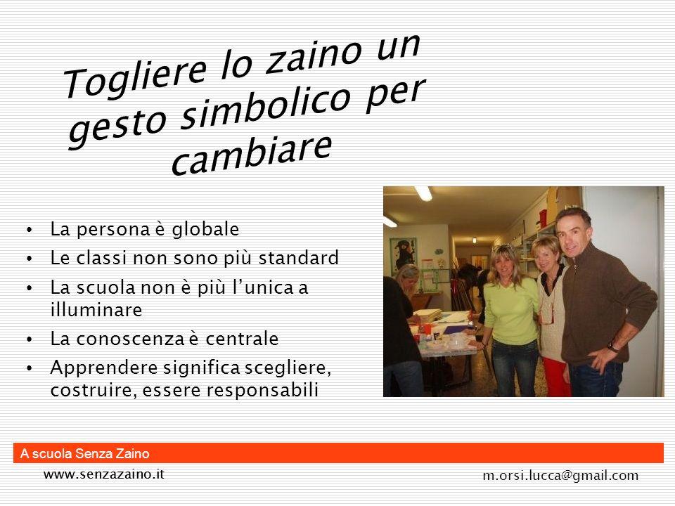 www.senzazaino.it m.orsi.lucca@gmail.com A scuola Senza Zaino Autovalutazione EDC Università di Sassari 2007