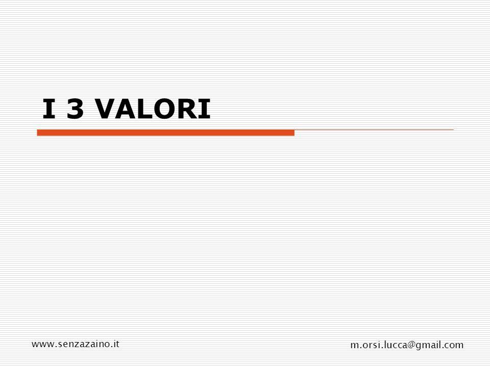 www.senzazaino.it m.orsi.lucca@gmail.com I 3 VALORI