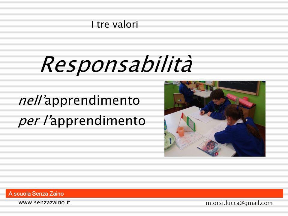 m.orsi.lucca@gmail.com A scuola Senza Zaino Comunità La comunità (apprendimento situato) degli alunni dei docenti dei genitori I tre valori www.senzazaino.it