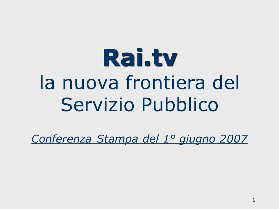 1 Rai.tv Rai.tv la nuova frontiera del Servizio Pubblico Conferenza Stampa del 1° giugno 2007