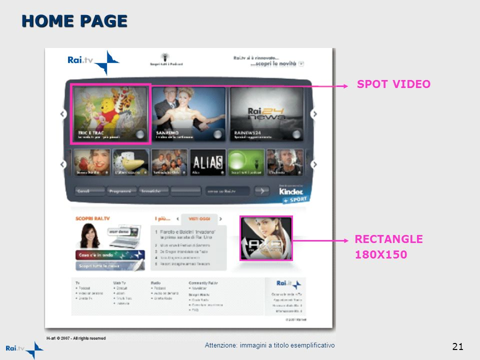 21 SPOT VIDEO Attenzione: immagini a titolo esemplificativo RECTANGLE 180X150 HOME PAGE