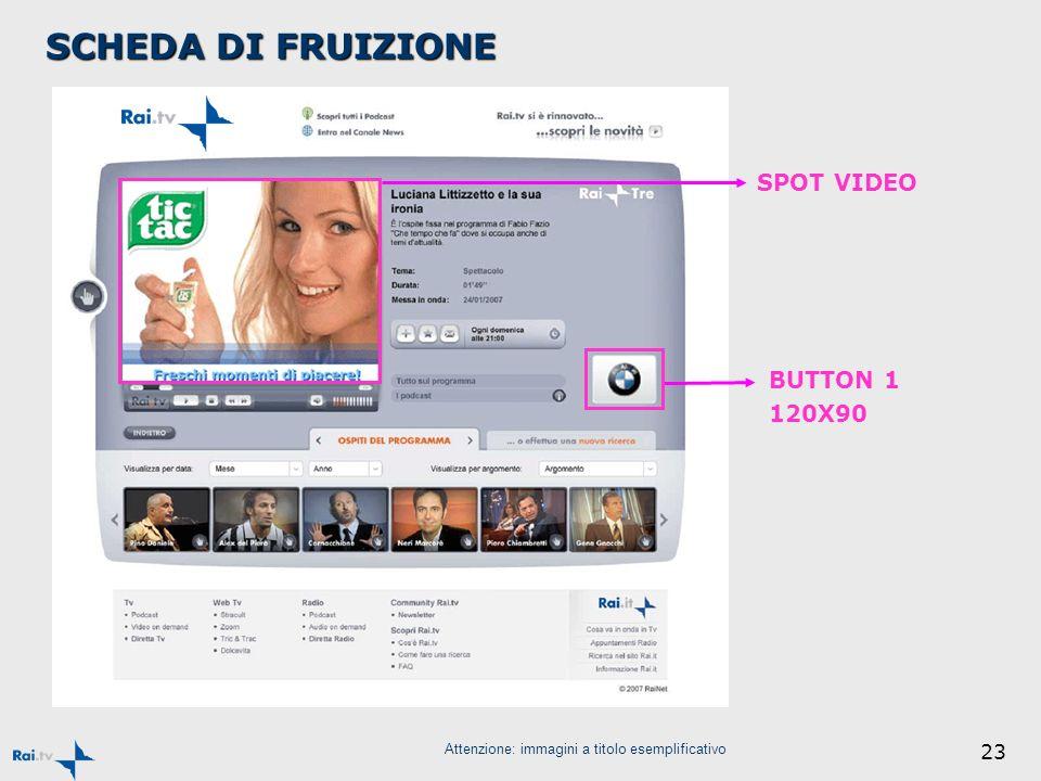23 Attenzione: immagini a titolo esemplificativo SPOT VIDEO BUTTON 1 120X90 SCHEDA DI FRUIZIONE