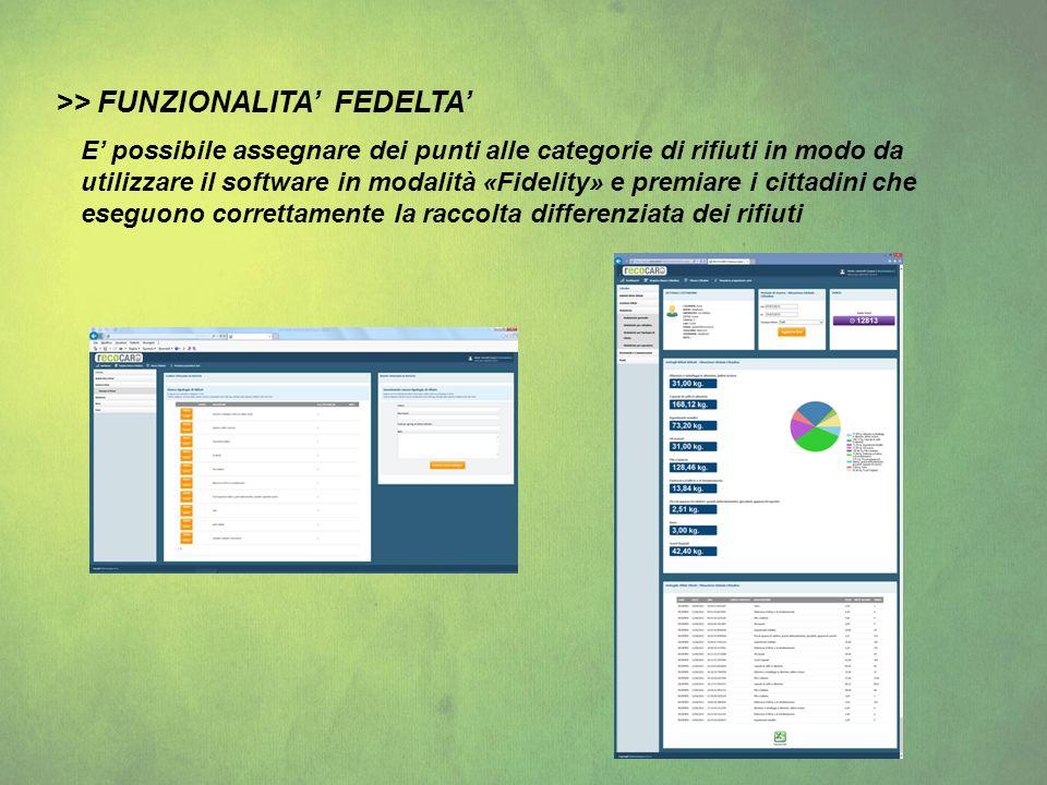>> FUNZIONALITA FEDELTA E possibile assegnare dei punti alle categorie di rifiuti in modo da utilizzare il software in modalità «Fidelity» e premiare