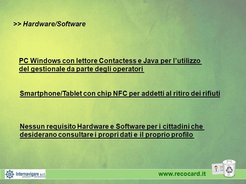 www.recocard.it >> Hardware/Software PC Windows con lettore Contactess e Java per lutilizzo del gestionale da parte degli operatori Smartphone/Tablet