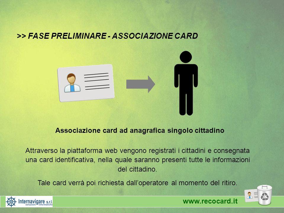 >> FASE PRELIMINARE - ASSOCIAZIONE CARD Associazione card ad anagrafica singolo cittadino Attraverso la piattaforma web vengono registrati i cittadini