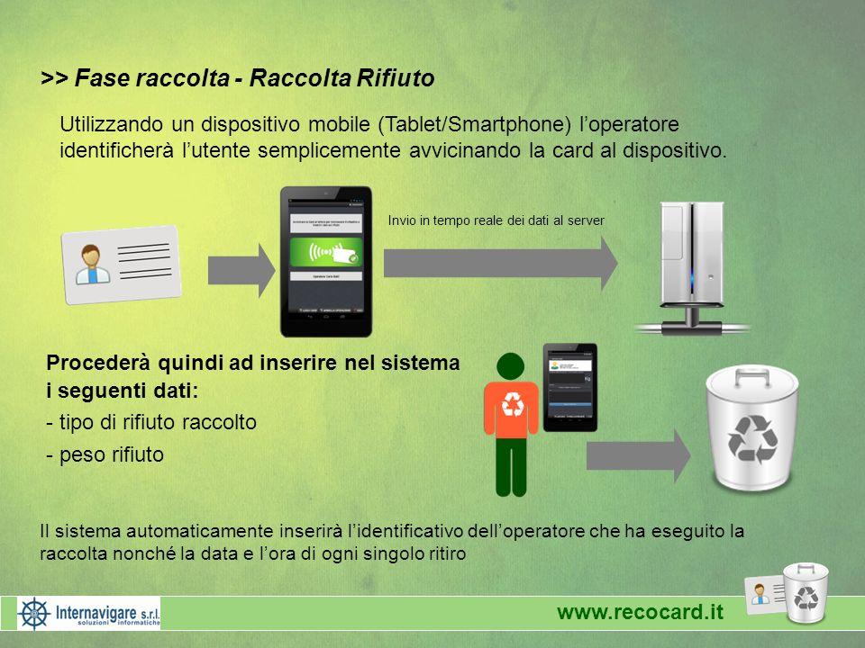 >> Fase raccolta - Raccolta Rifiuto Procederà quindi ad inserire nel sistema i seguenti dati: - tipo di rifiuto raccolto - peso rifiuto Utilizzando un