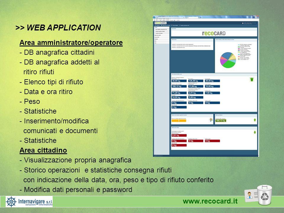 >> WEB APPLICATION Area amministratore/operatore - DB anagrafica cittadini - DB anagrafica addetti al ritiro rifiuti - Elenco tipi di rifiuto - Data e