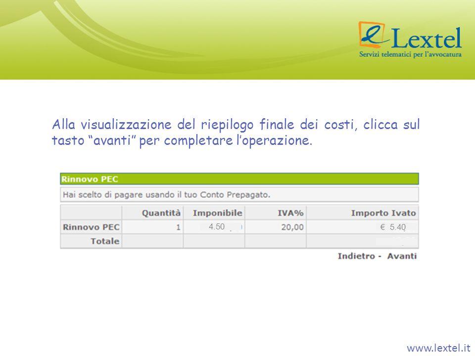 www.lextel.it Alla visualizzazione del riepilogo finale dei costi, clicca sul tasto avanti per completare loperazione. 4.50 5.40