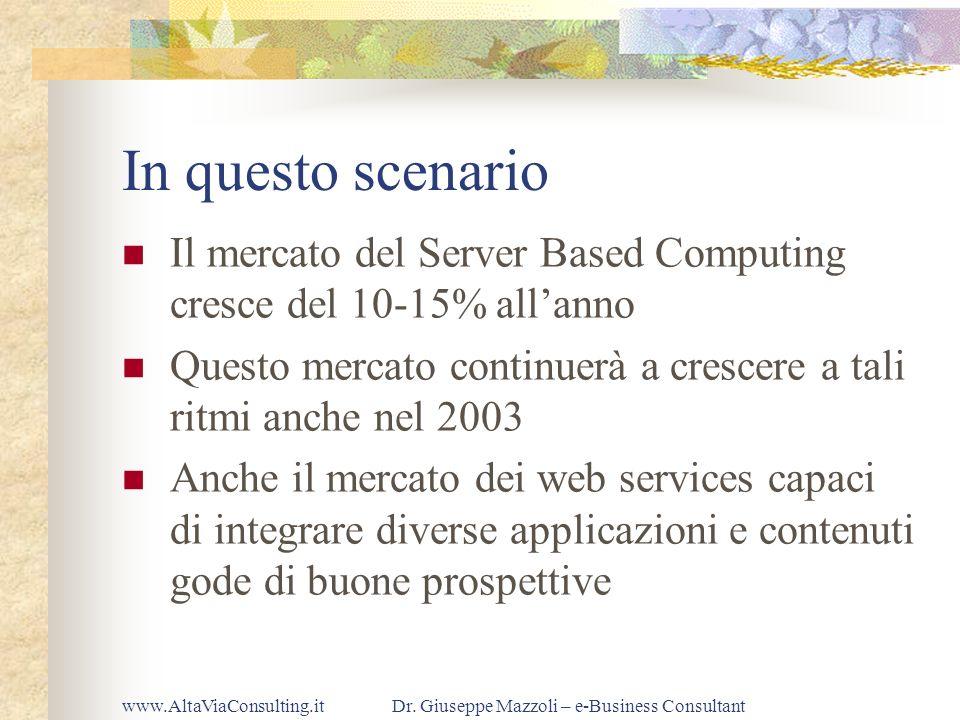 www.AltaViaConsulting.itDr. Giuseppe Mazzoli – e-Business Consultant In questo scenario Il mercato del Server Based Computing cresce del 10-15% allann