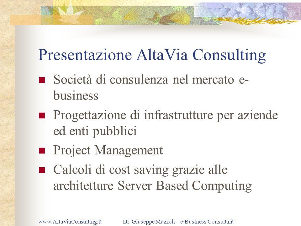 www.AltaViaConsulting.itDr. Giuseppe Mazzoli – e-Business Consultant Presentazione AltaVia Consulting Società di consulenza nel mercato e- business Pr