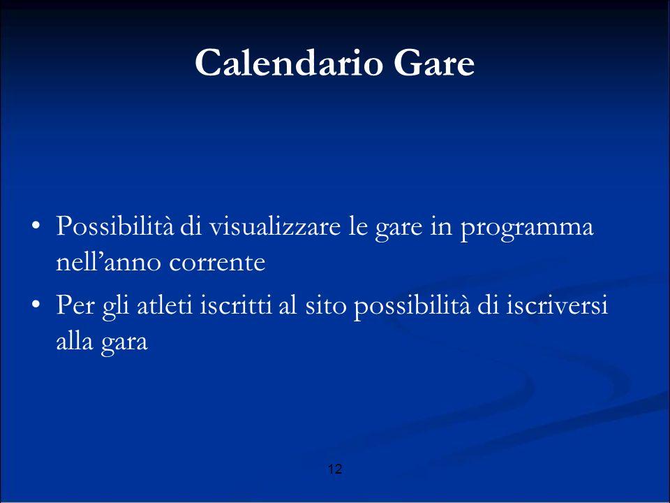12 Calendario Gare Possibilità di visualizzare le gare in programma nellanno corrente Per gli atleti iscritti al sito possibilità di iscriversi alla gara