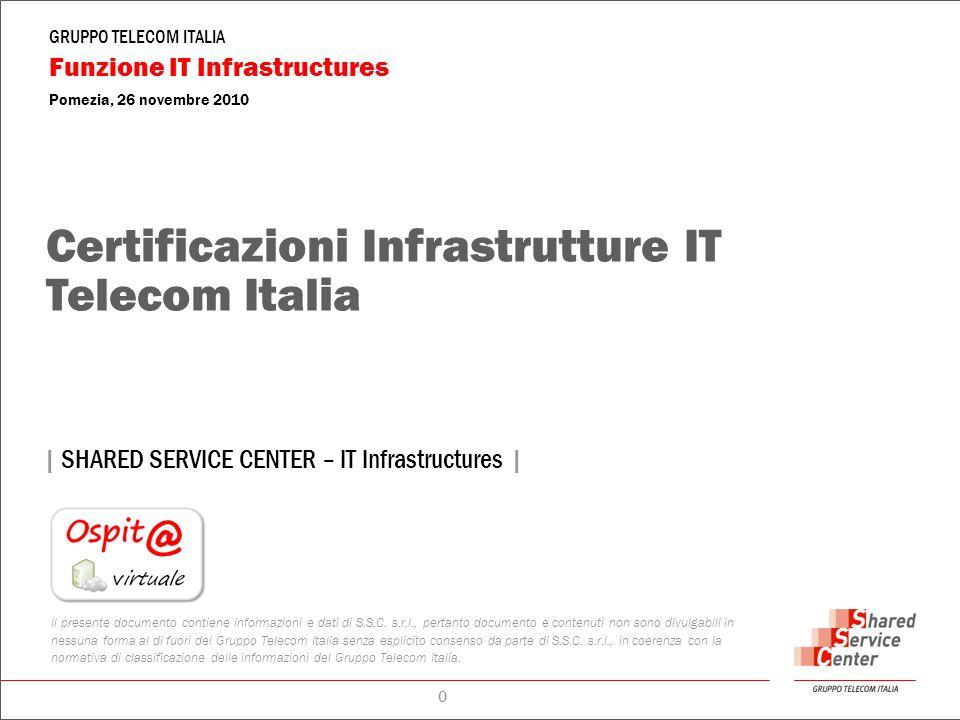 GRUPPO TELECOM ITALIA Funzione IT Infrastructures Pomezia, 26 novembre 2010   SHARED SERVICE CENTER – IT Infrastructures   0 Il presente documento contiene informazioni e dati di S.S.C.