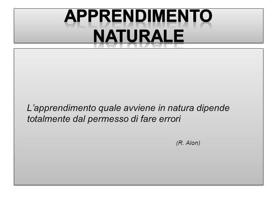 Lapprendimento quale avviene in natura dipende totalmente dal permesso di fare errori (R. Alon) Lapprendimento quale avviene in natura dipende totalme