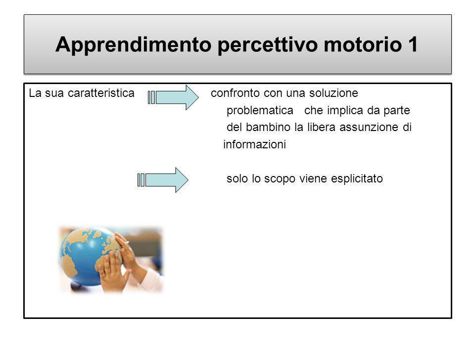 Apprendimento percettivo motorio 1 La sua caratteristica confronto con una soluzione problematica che implica da parte del bambino la libera assunzion
