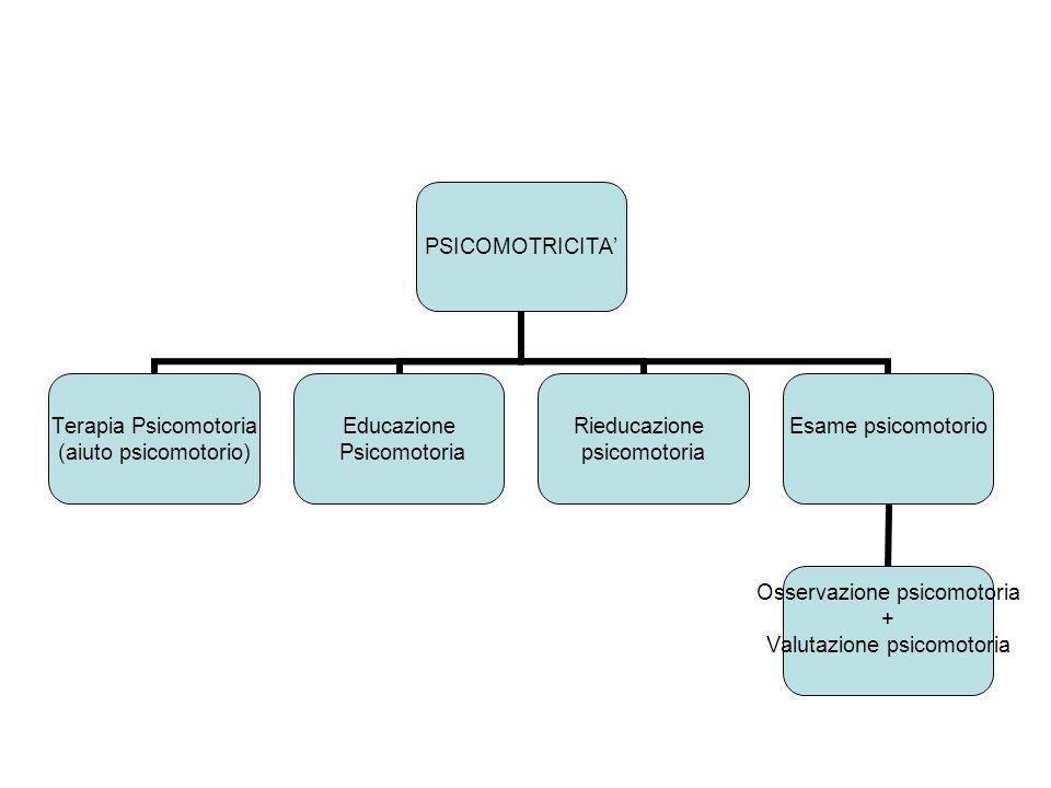 PSICOMOTRICITA Terapia Psicomotoria (aiuto psicomotorio) Educazione Psicomotoria Rieducazione psicomotoria Esame psicomotorio Osservazione psicomotori